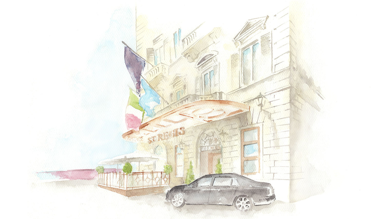 The St. Regis Florence Facade Illustration with Bentley
