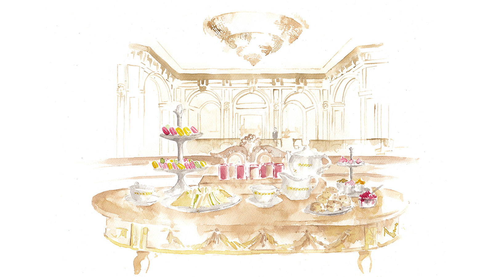 The St. Regis Rome Afternoon Tea Illustration