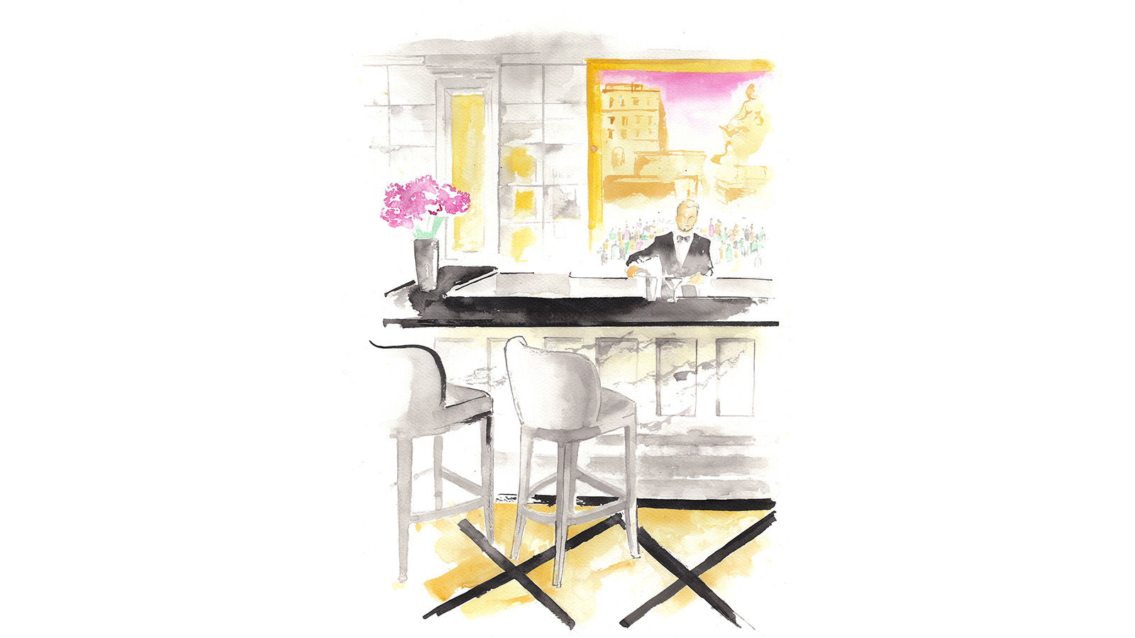 The St. Regis Rome Grand Bar Illustration