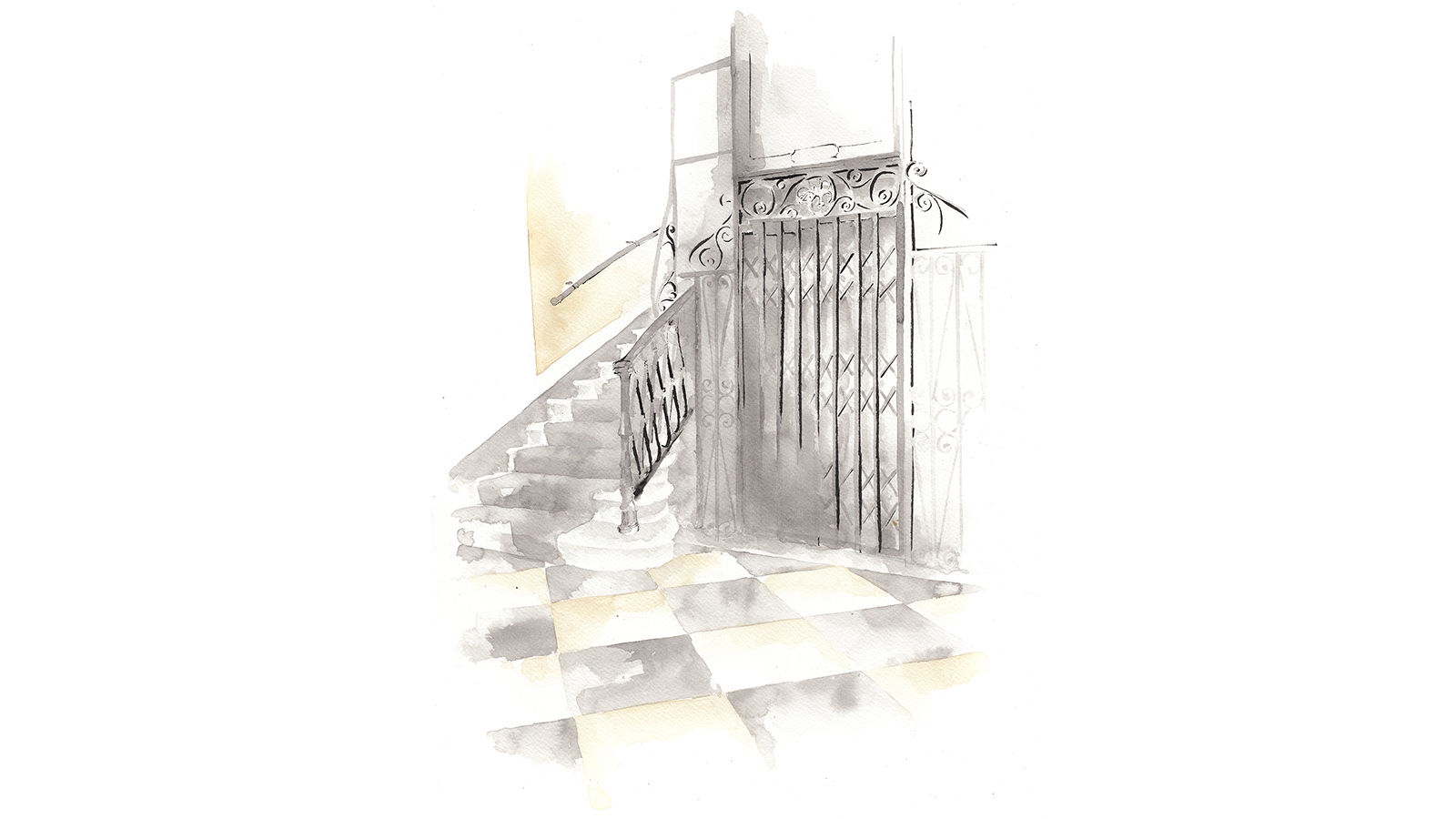 The St. Regis Rome historic elevator Illustration