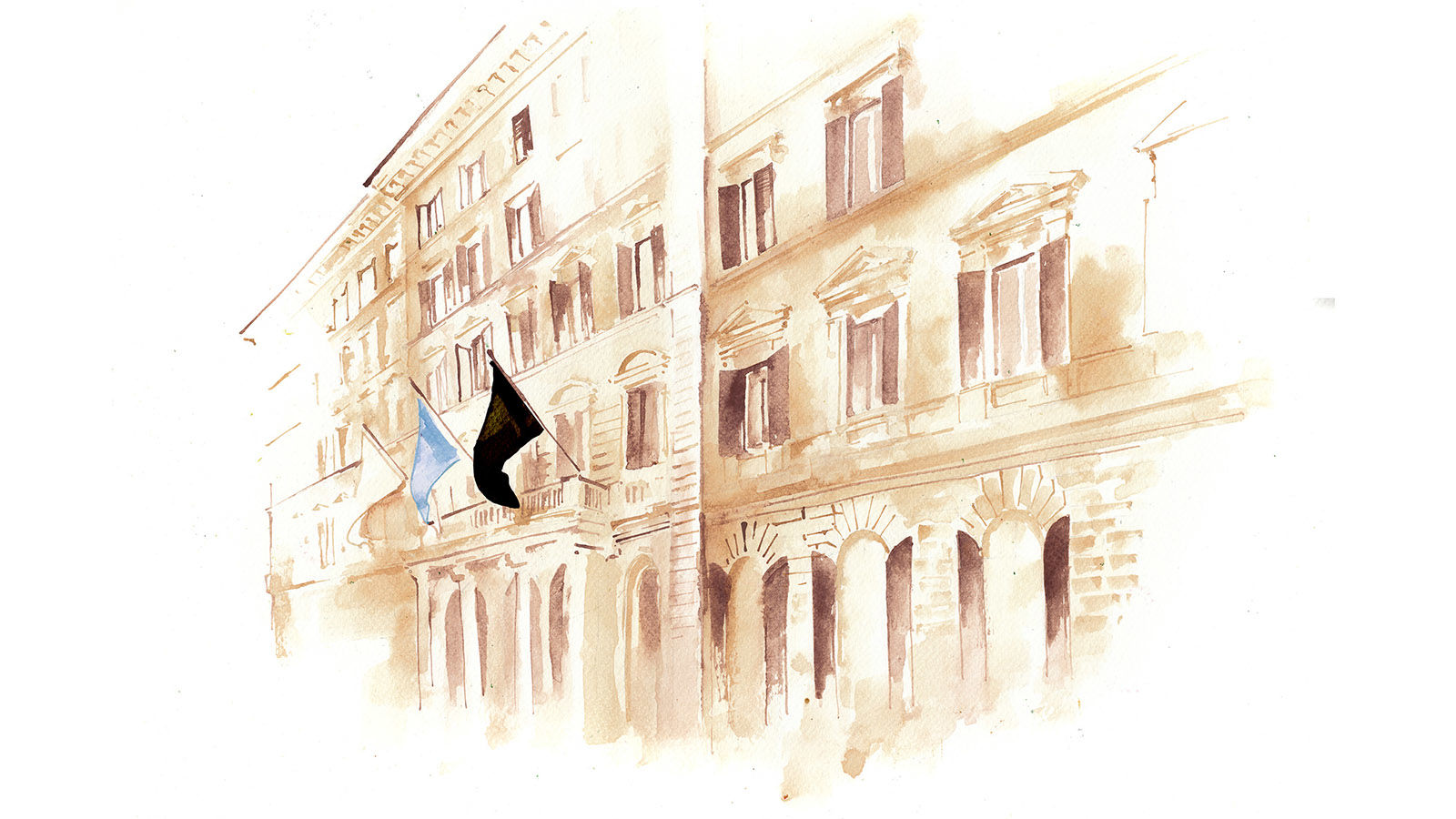 The St. Regis Rome Facade Illustration