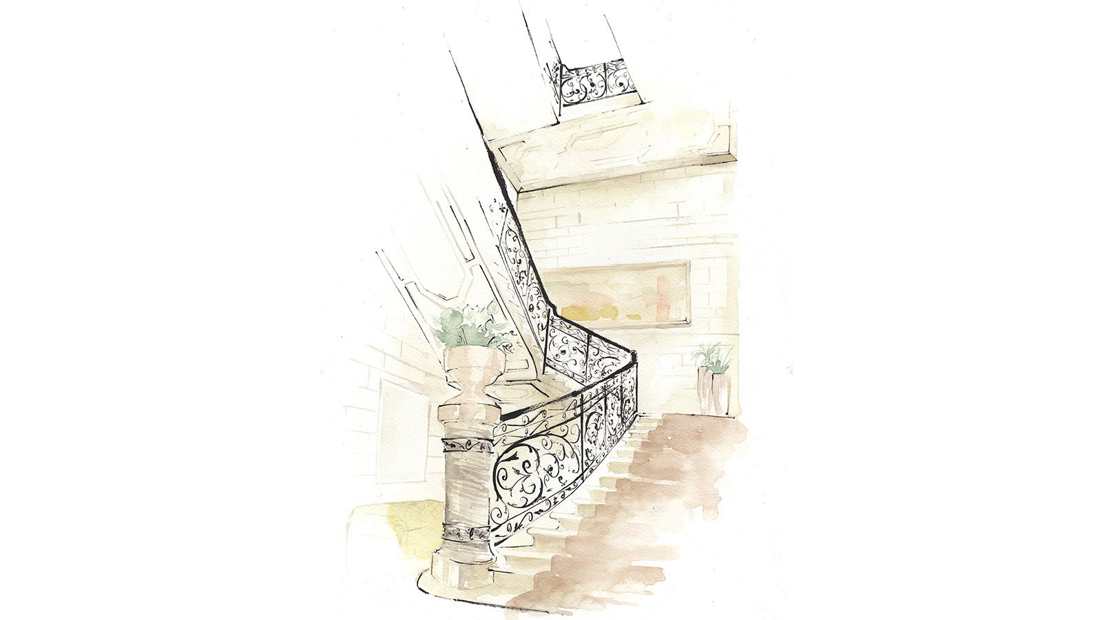 The St. Regis Rome Staircase Illustration